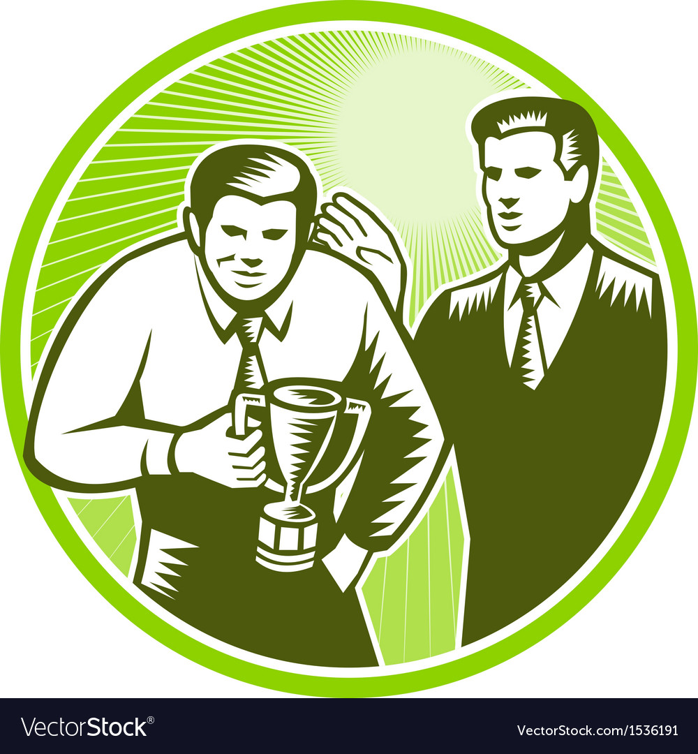 Officer worker winning trophy woodcut vector | Price: 1 Credit (USD $1)