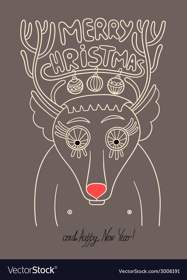 Original doodle christmas deer concept winter  mer vector | Price: 1 Credit (USD $1)