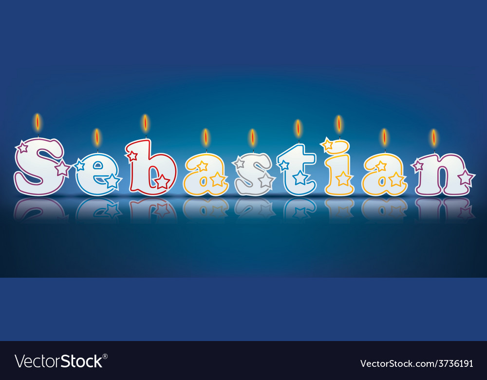 Sebastian written with burning candles vector | Price: 1 Credit (USD $1)