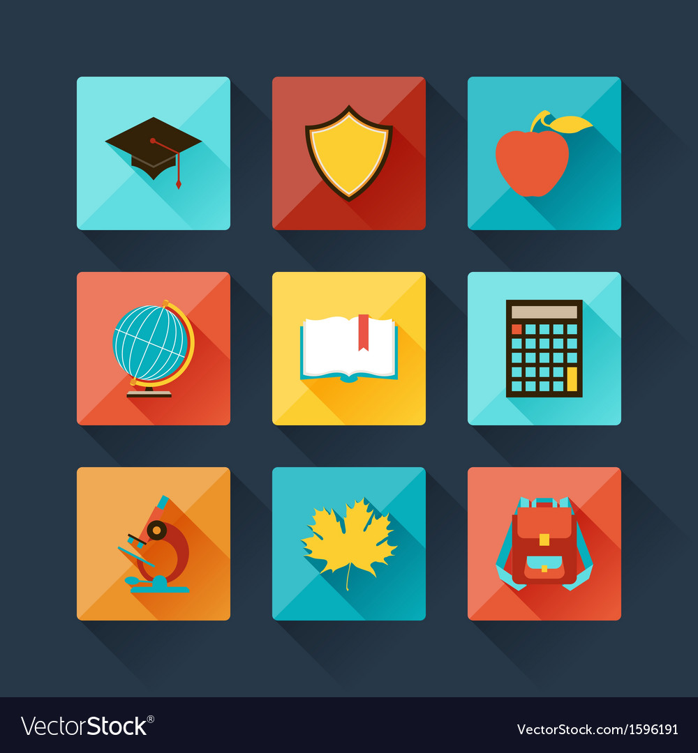 Set of education icons in flat design style vector | Price: 1 Credit (USD $1)