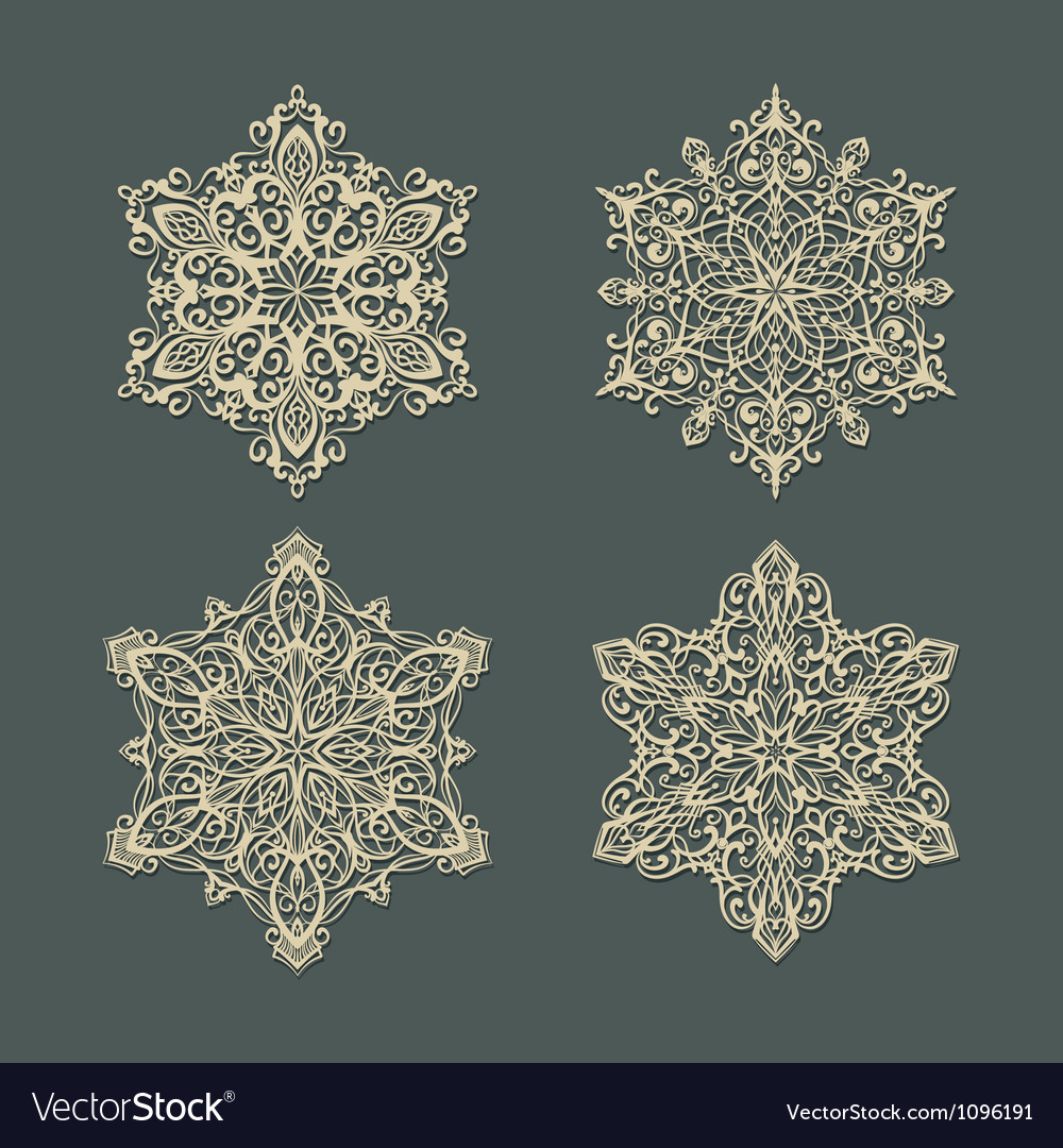 Snow flakes set 3 vector | Price: 1 Credit (USD $1)