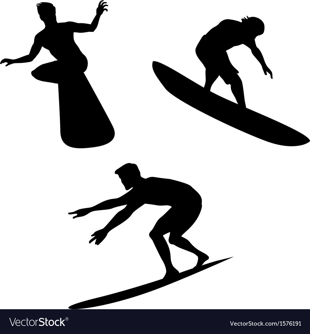 Surfers silhouettes vector | Price: 1 Credit (USD $1)