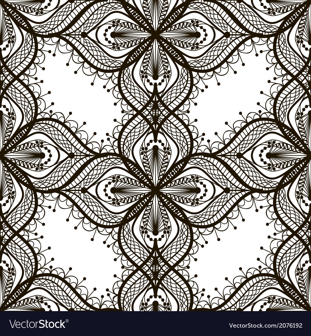 Black lace floral seamless pattern on white vector | Price: 1 Credit (USD $1)