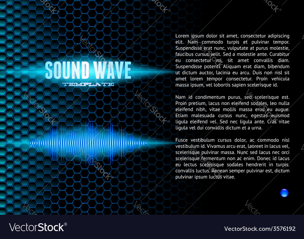 Blue sound waveform on hex grid for booklet vector | Price: 1 Credit (USD $1)
