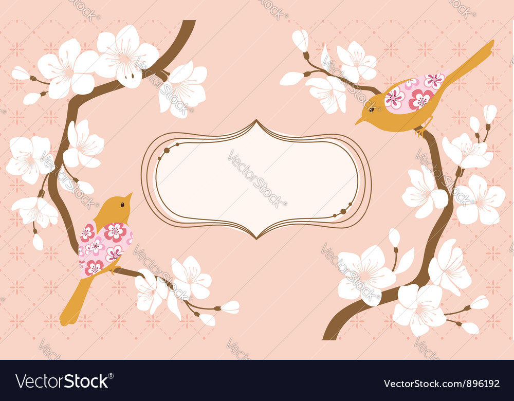 Cherry blossoms greeting card vector | Price: 1 Credit (USD $1)