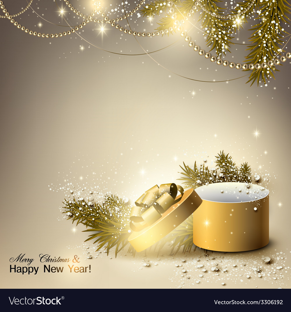 Christmas background with golden gift xmas box vector | Price: 3 Credit (USD $3)