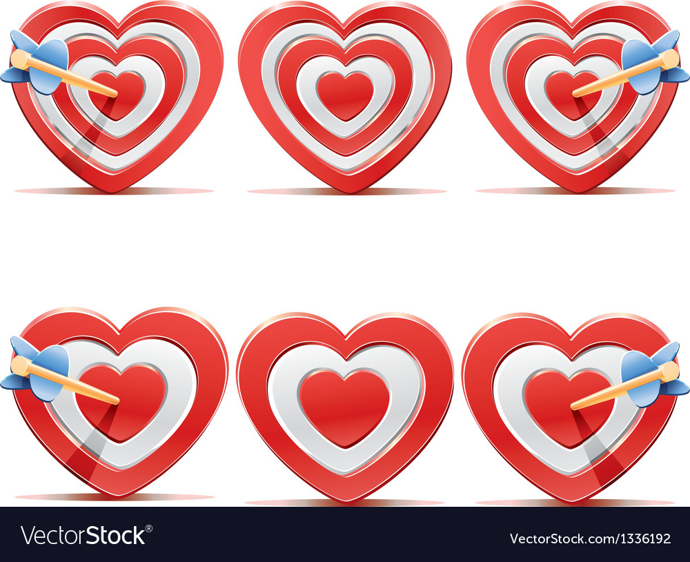 Collection of aim hearts vector | Price: 1 Credit (USD $1)