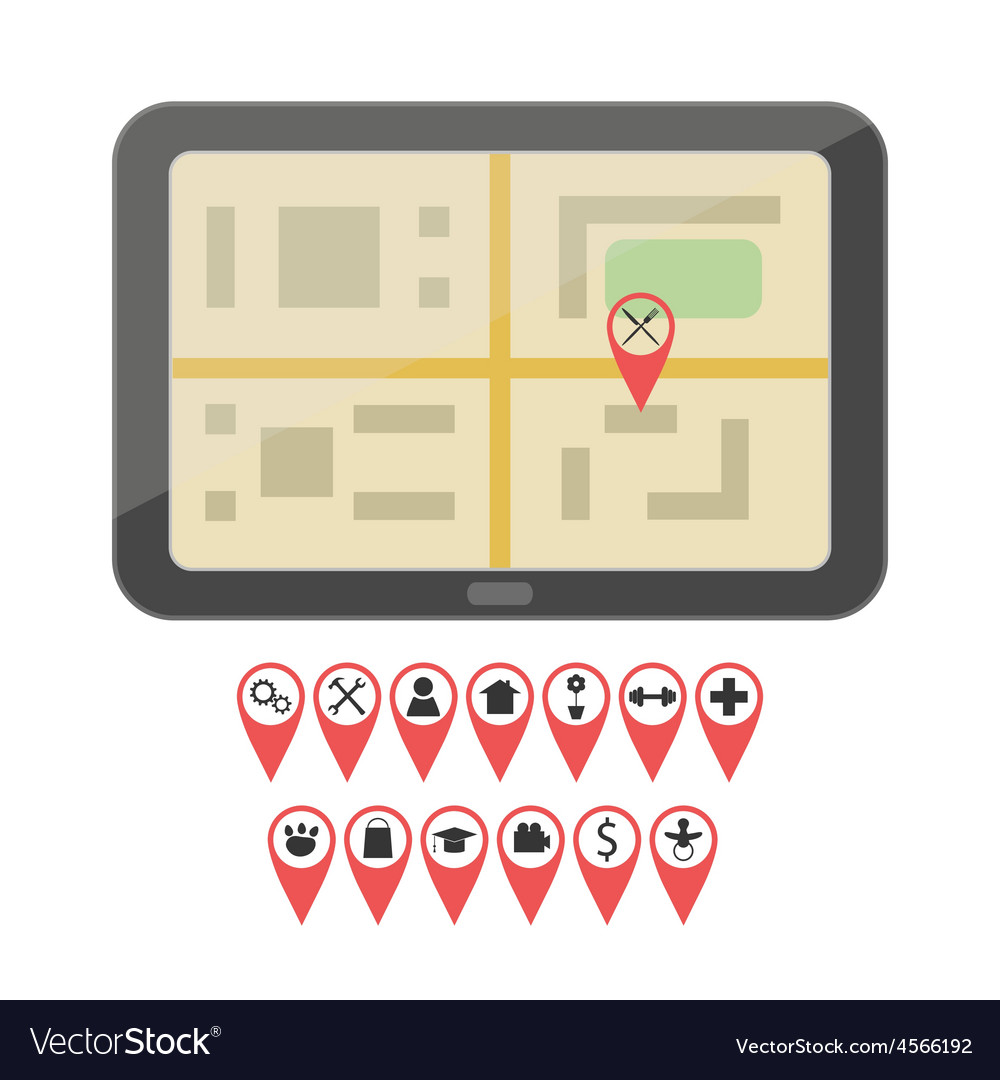 Gps device with geo pin icons vector | Price: 1 Credit (USD $1)
