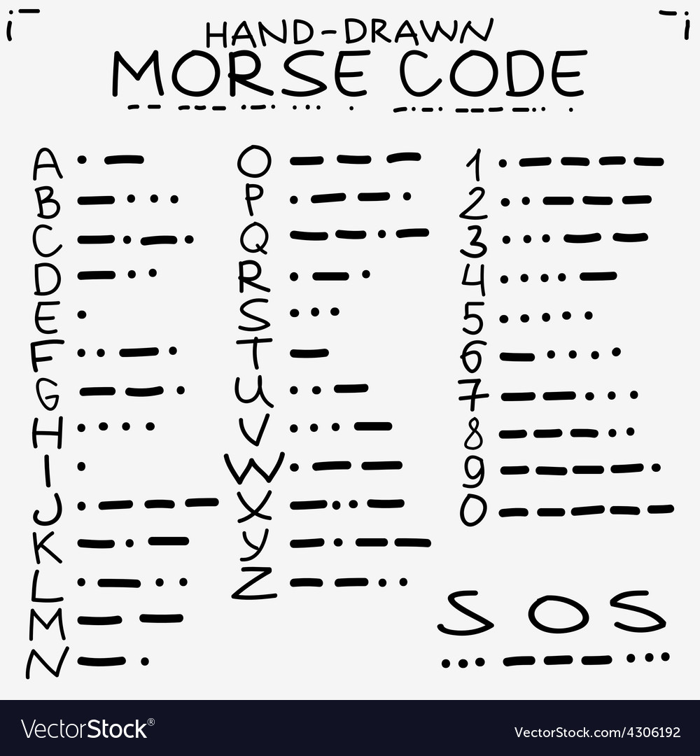 Hand-drawn doodle sketch international morse code vector | Price: 1 Credit (USD $1)