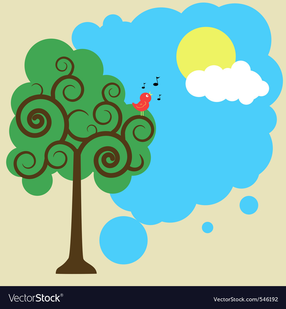 Illustration of a bird on a tree greeting sun vector | Price: 1 Credit (USD $1)