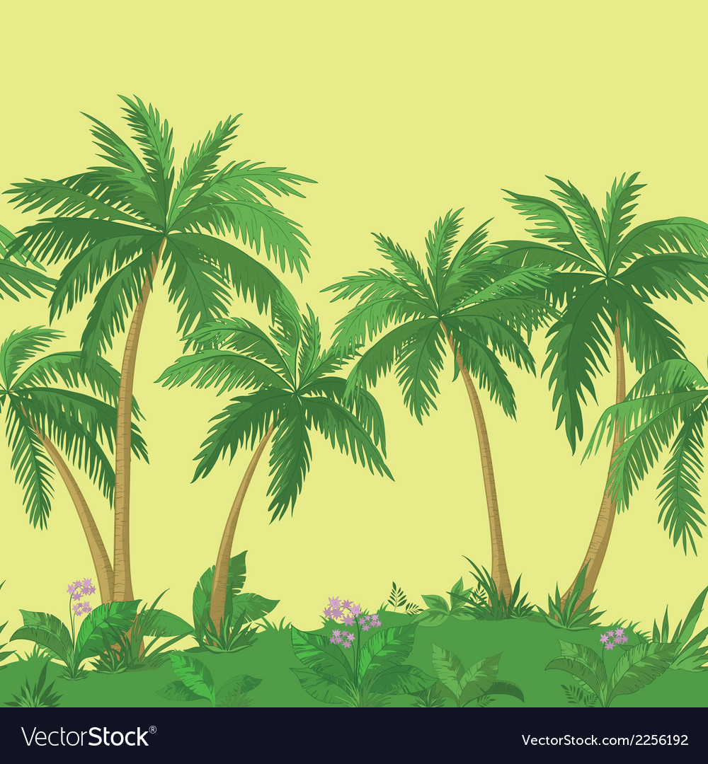 Palm trees and flowers seamless vector | Price: 1 Credit (USD $1)