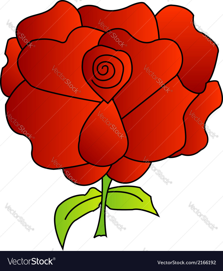 Red rose with green leaves vector | Price: 1 Credit (USD $1)