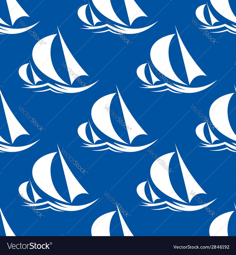 Seamless pattern of yachts and sailing ship vector | Price: 1 Credit (USD $1)