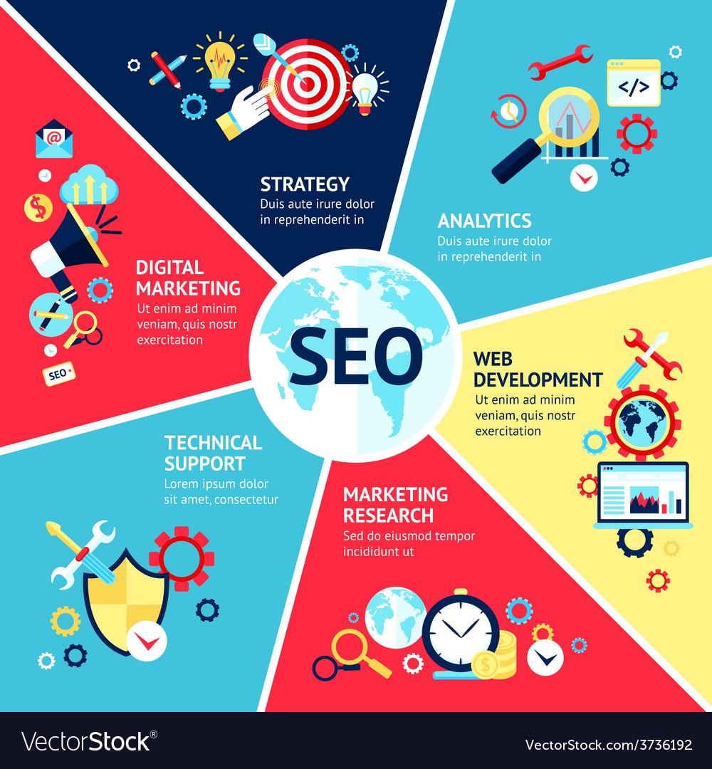 Seo infographic set vector | Price: 1 Credit (USD $1)