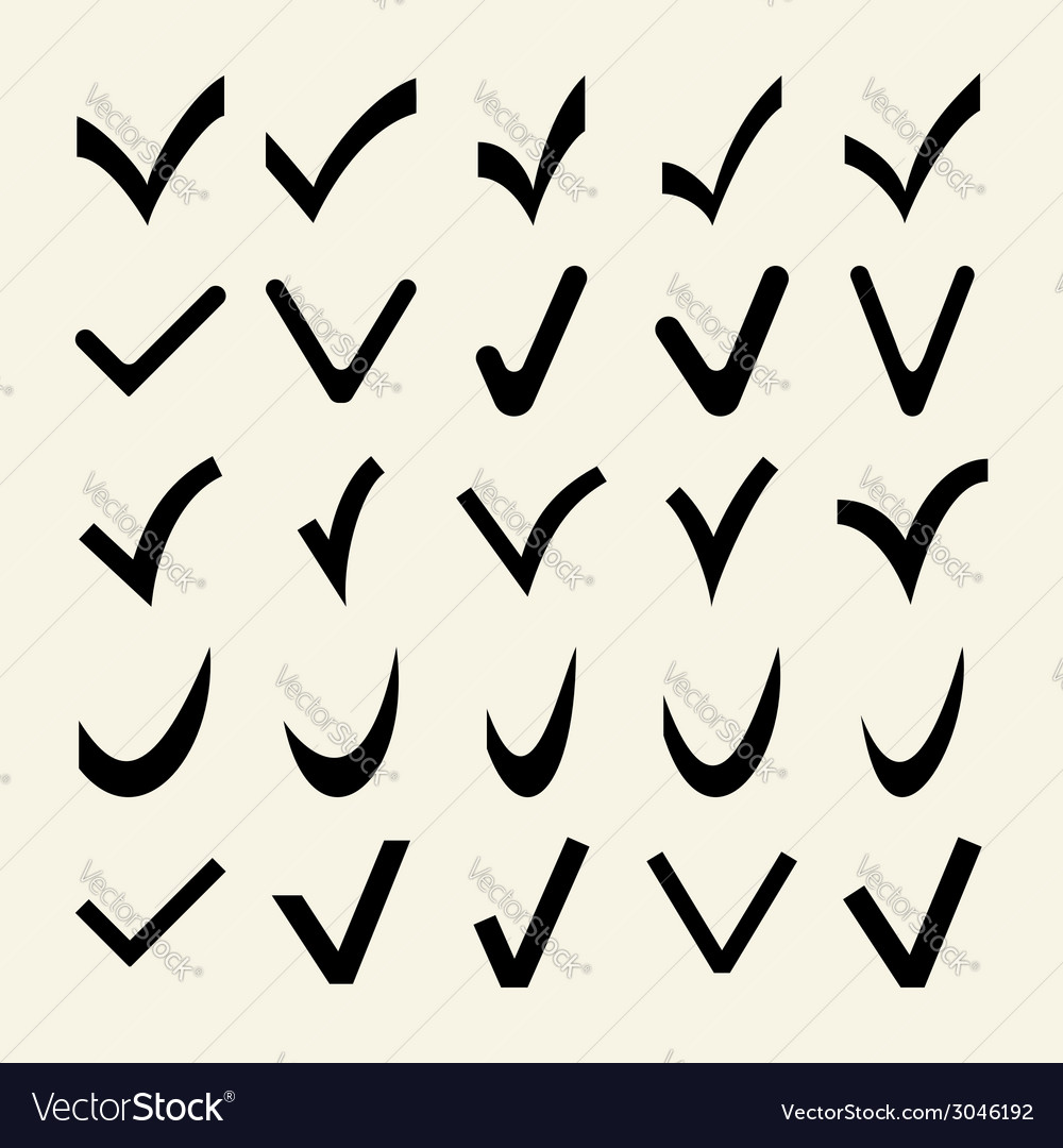 Set of 25 different check marks vector | Price: 1 Credit (USD $1)