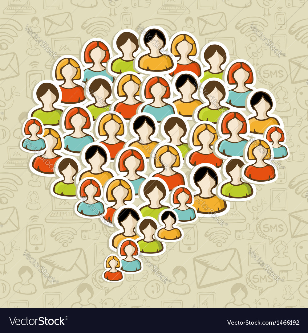 Social media bubble people crowd vector | Price: 1 Credit (USD $1)