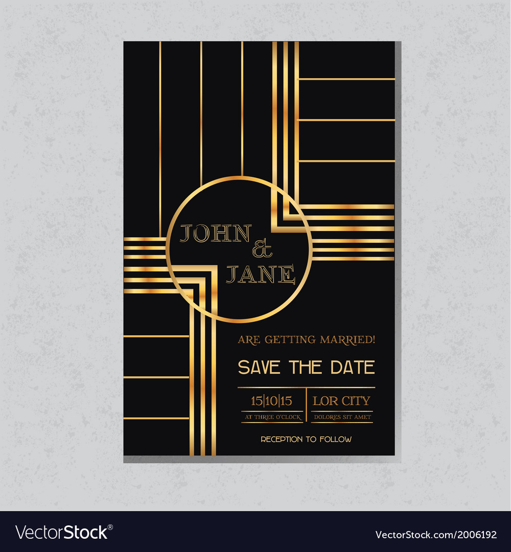 Wedding invitation card in art deco design vector | Price: 1 Credit (USD $1)