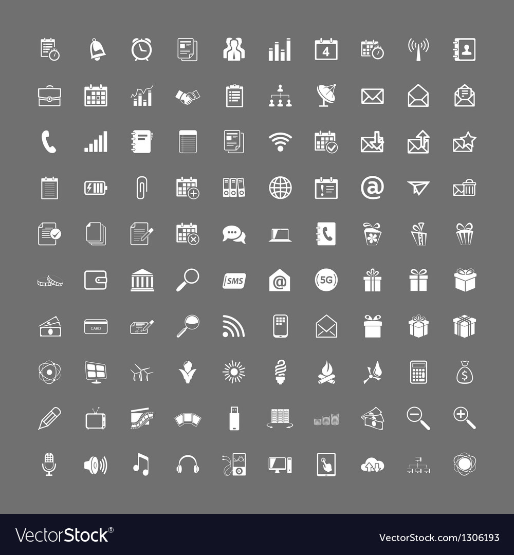 100 universal web icons set vector | Price: 1 Credit (USD $1)