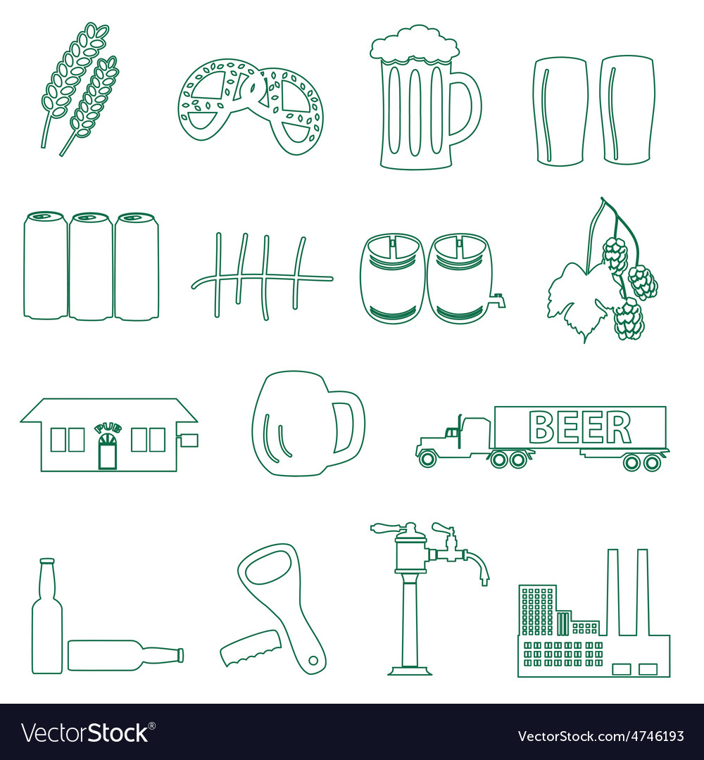 Beer drink and pub simple outline icons eps10 vector   Price: 1 Credit (USD $1)