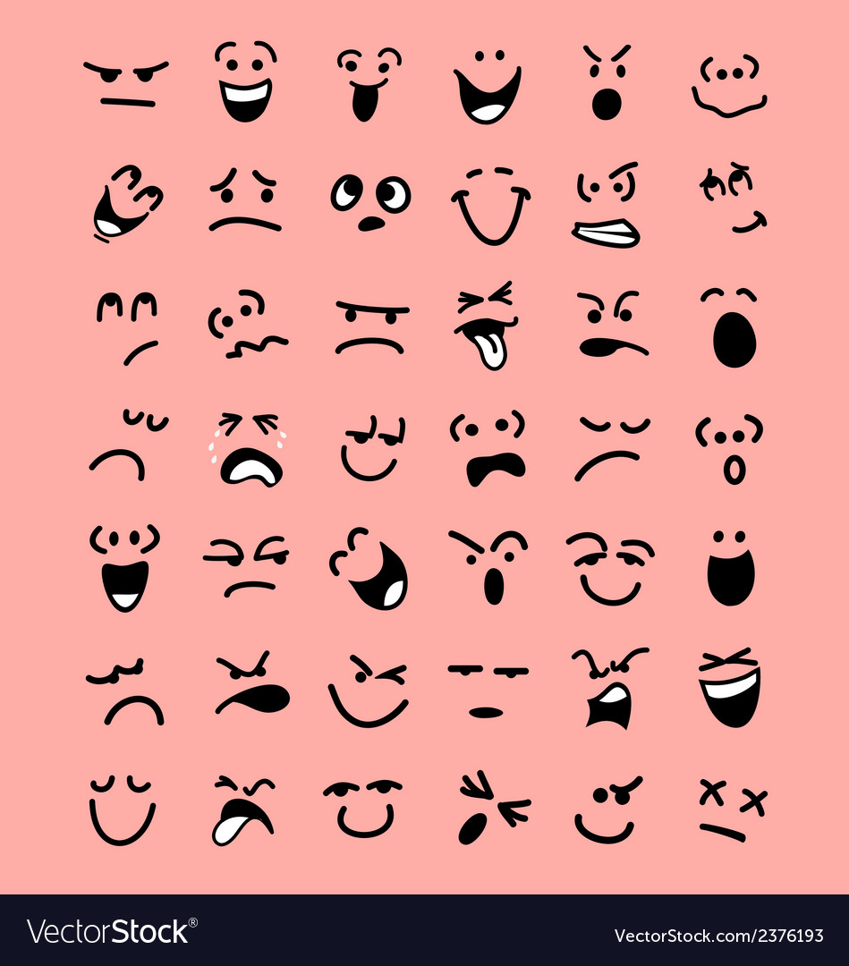 Big set of cartoon facial expressions vector | Price: 1 Credit (USD $1)