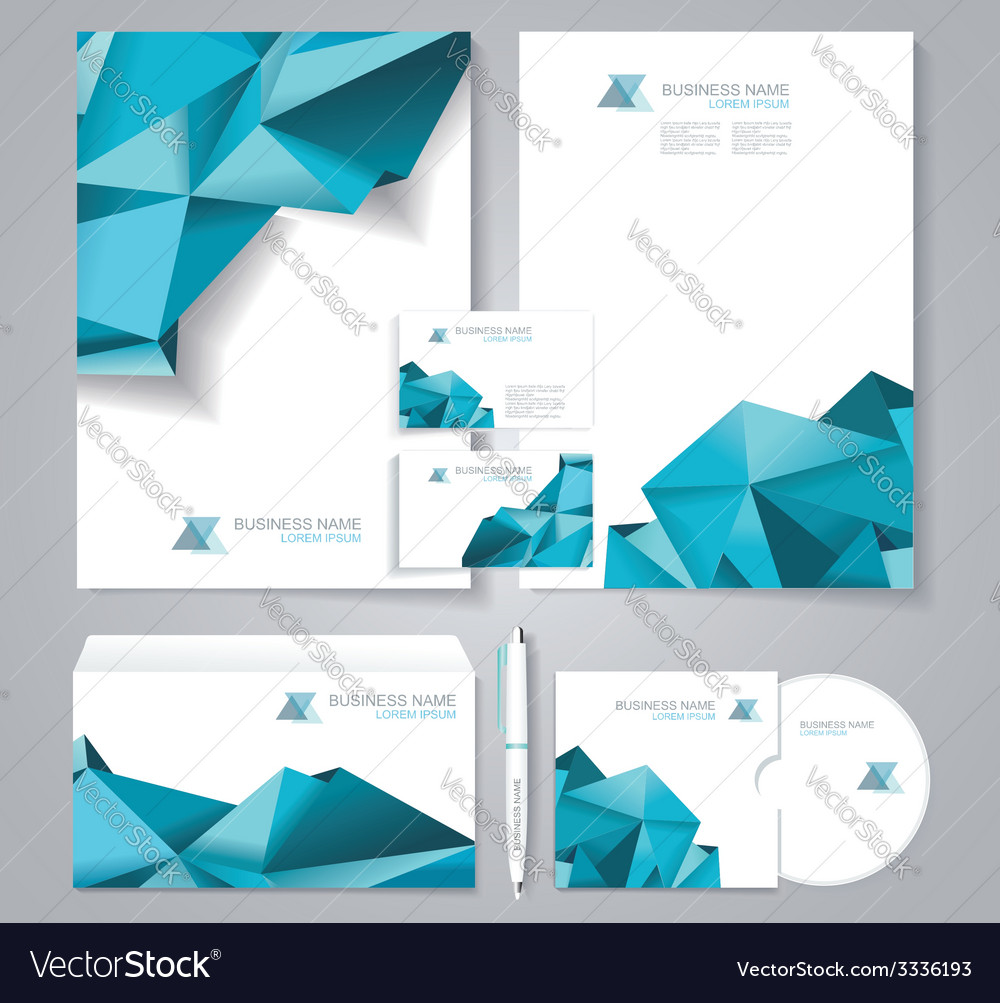 Corporate identity template with blue polygonal vector | Price: 1 Credit (USD $1)