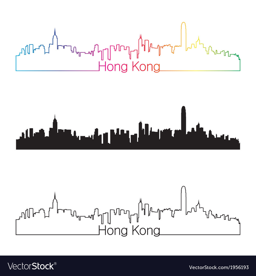 Hong kong skyline linear style with rainbow vector | Price: 1 Credit (USD $1)