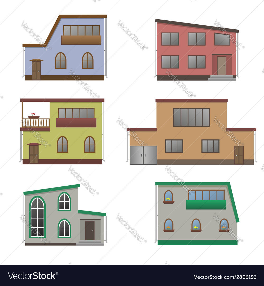 House and building set vector | Price: 1 Credit (USD $1)