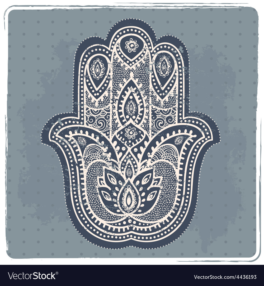 Indian hand drawn hamsa with ornaments vector | Price: 1 Credit (USD $1)