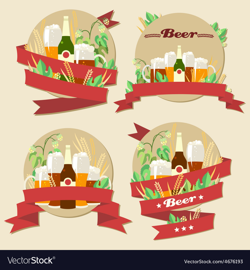 Light and dark beer with wheat and hops vector | Price: 3 Credit (USD $3)