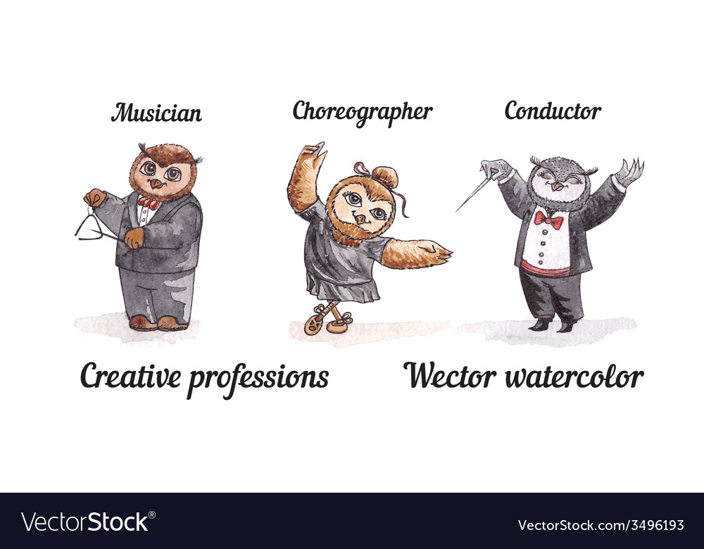 Owls creative professions watercolor birds artists vector | Price: 1 Credit (USD $1)