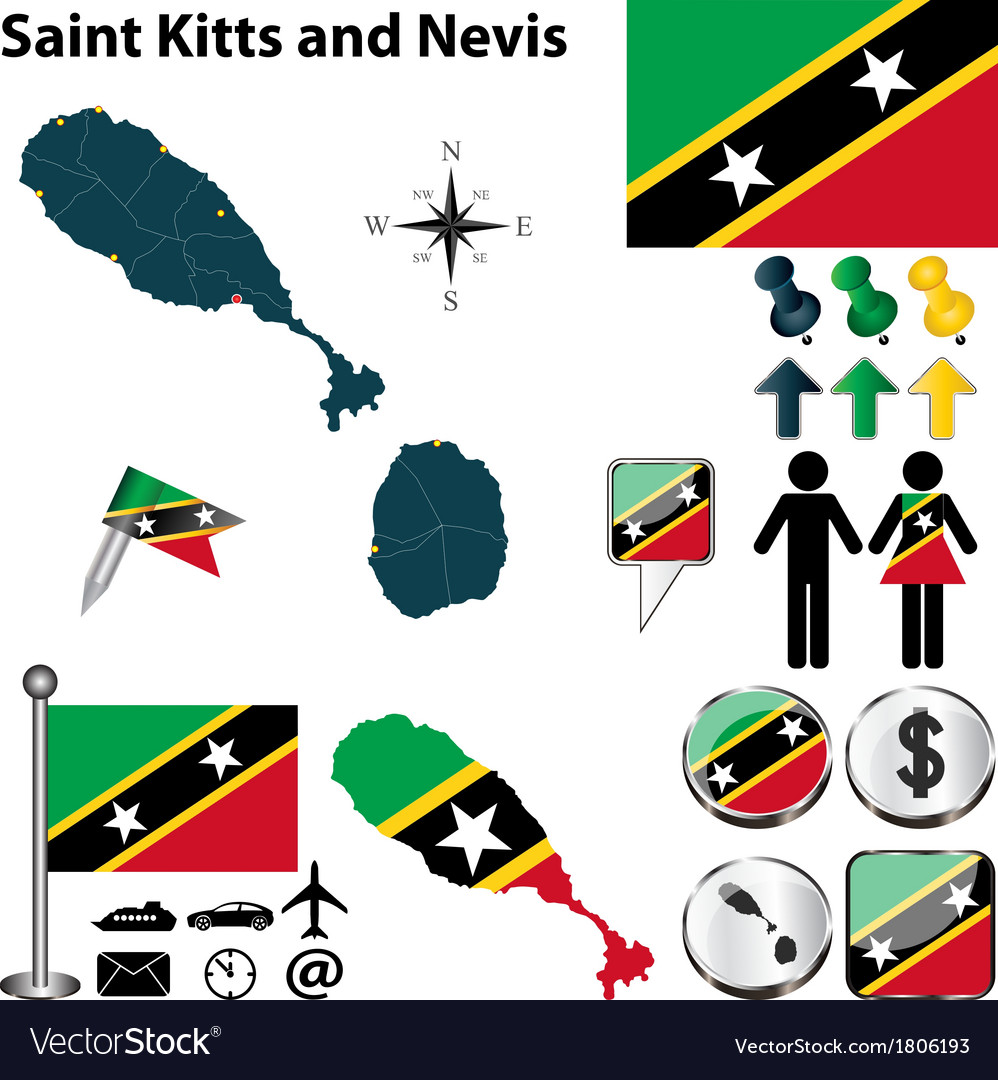 Saint kitts and nevis map vector | Price: 1 Credit (USD $1)