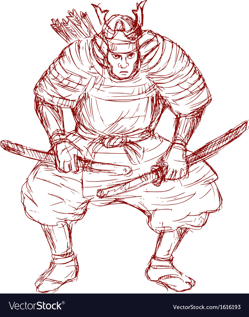 Samurai warrior with sword in fighting stance vector | Price: 1 Credit (USD $1)
