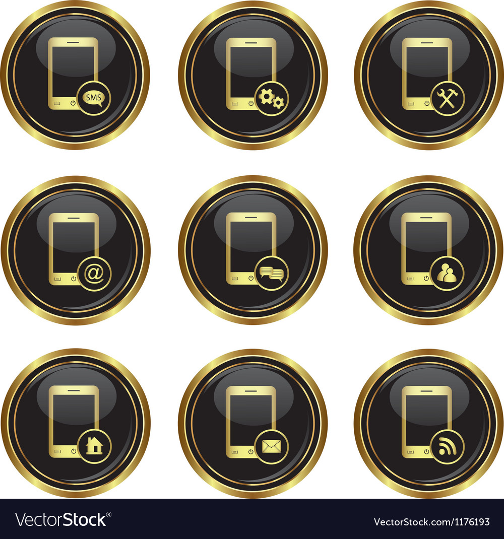 Set of phone icons with different menu vector | Price: 1 Credit (USD $1)
