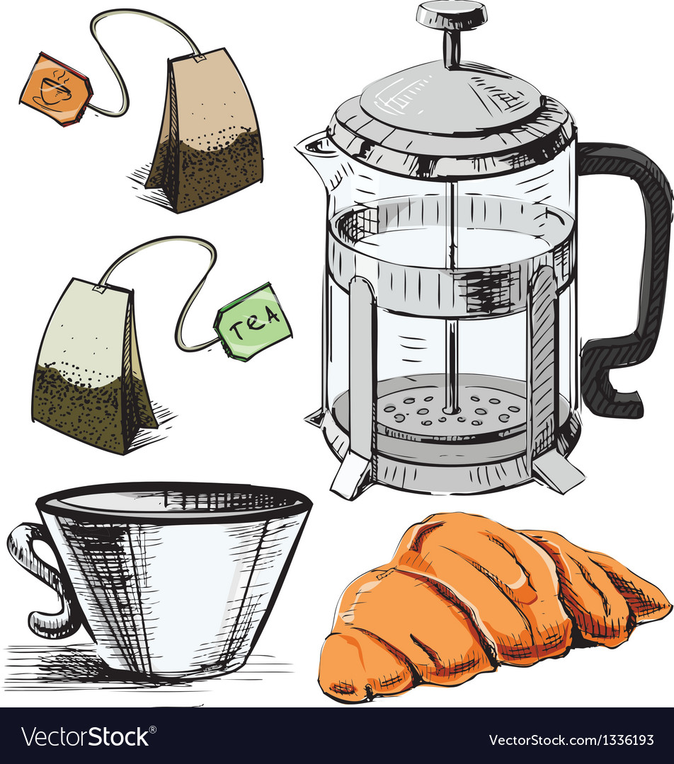 Tea time colorful objects collection vector | Price: 3 Credit (USD $3)