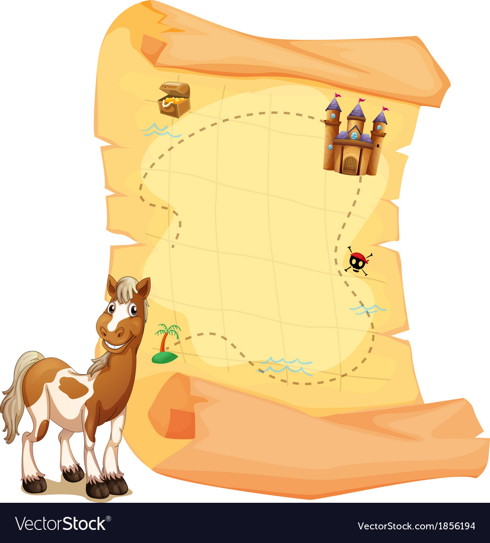 A treasure map beside the smiling horse vector | Price: 3 Credit (USD $3)