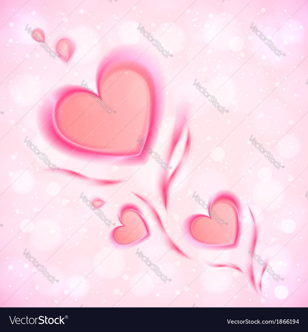 Abstract flowing hearts valentines card vector | Price: 1 Credit (USD $1)