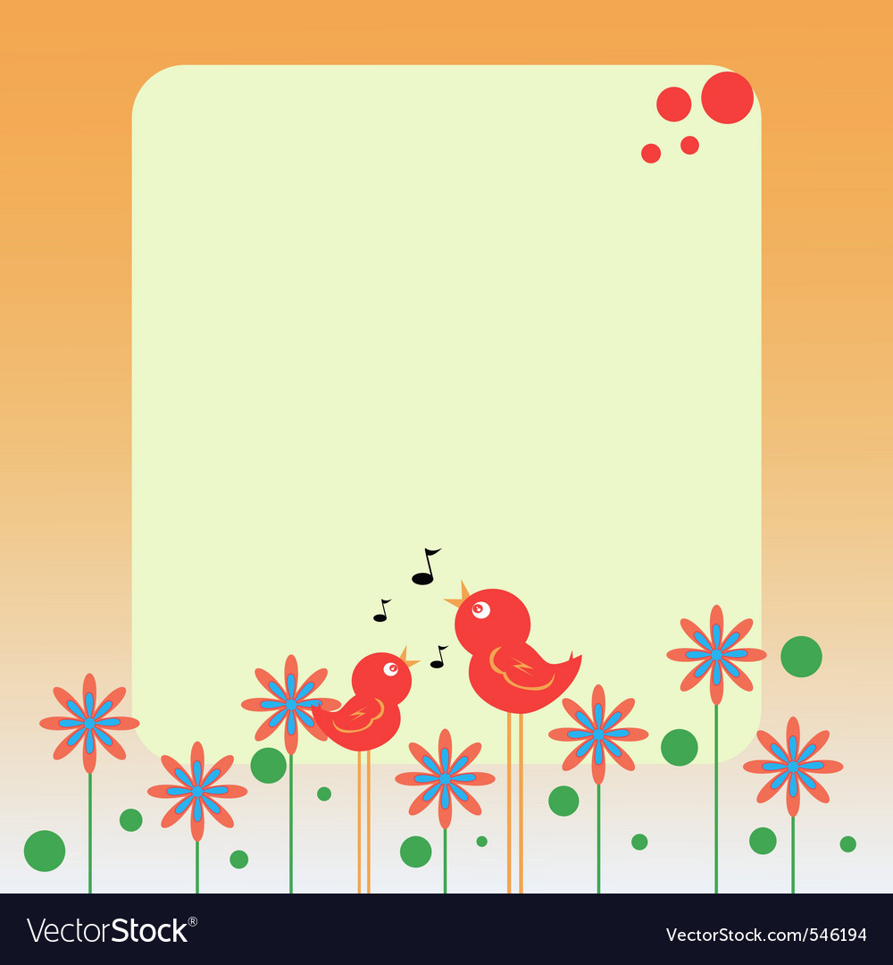 Birds and flowers note vector | Price: 1 Credit (USD $1)