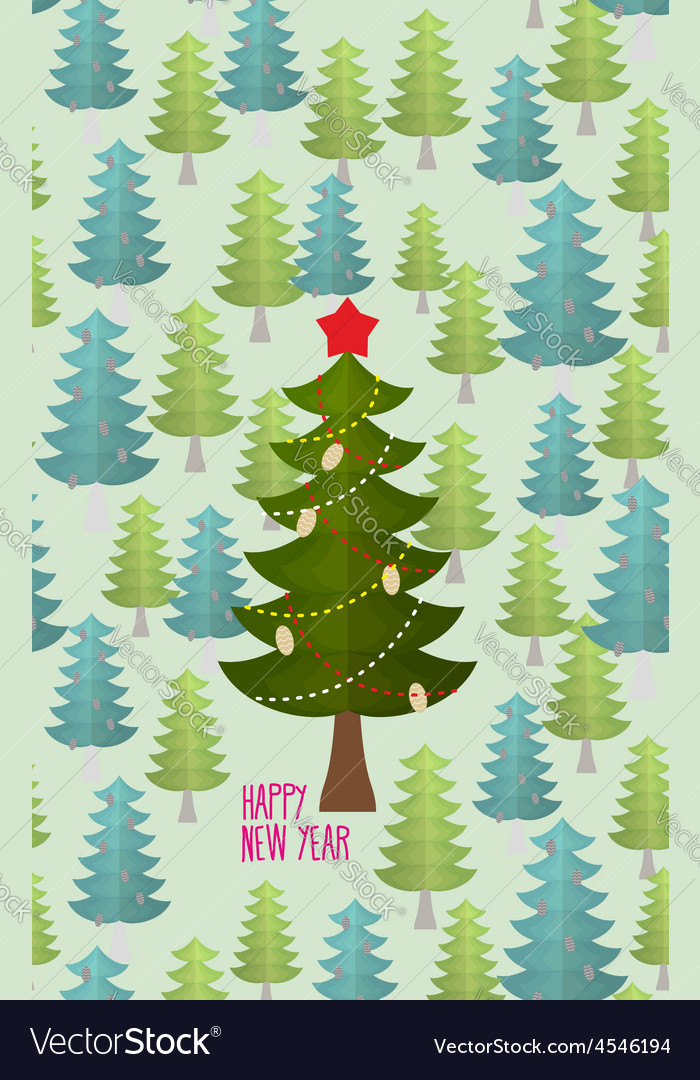 Christmas tree in forest greeting card for vector | Price: 1 Credit (USD $1)