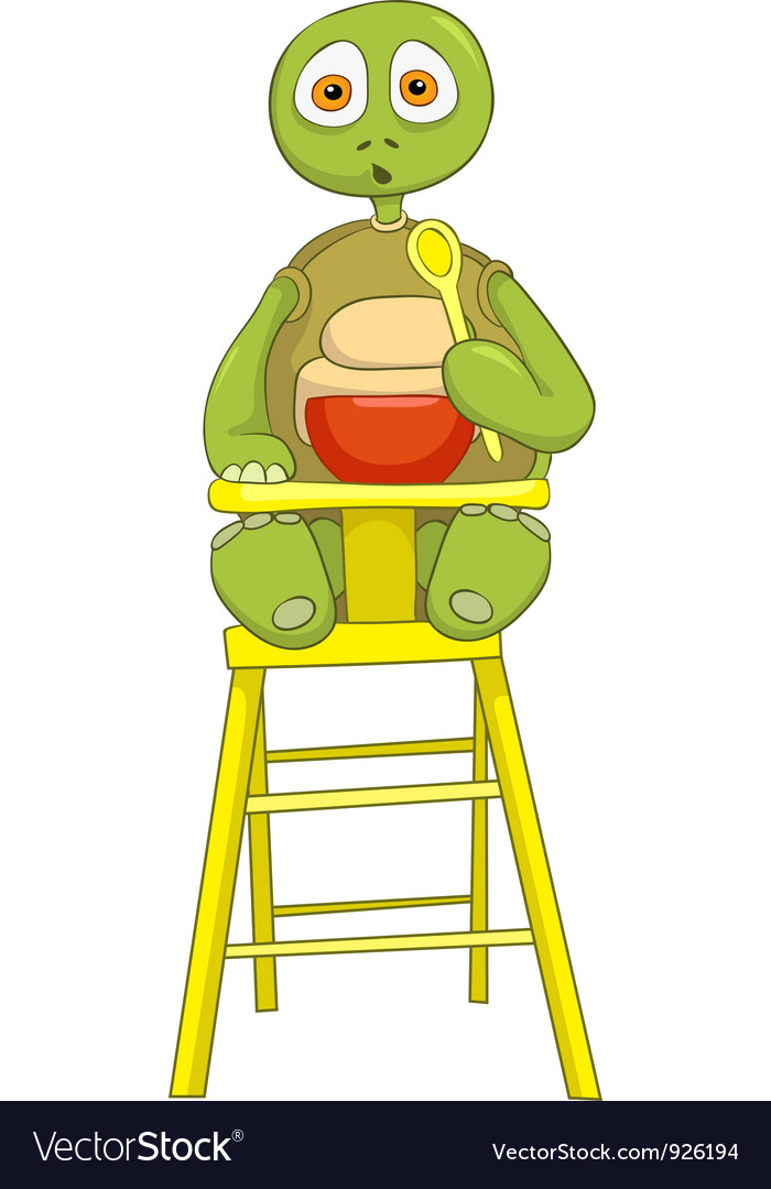 Funny turtle baby eating vector | Price: 3 Credit (USD $3)