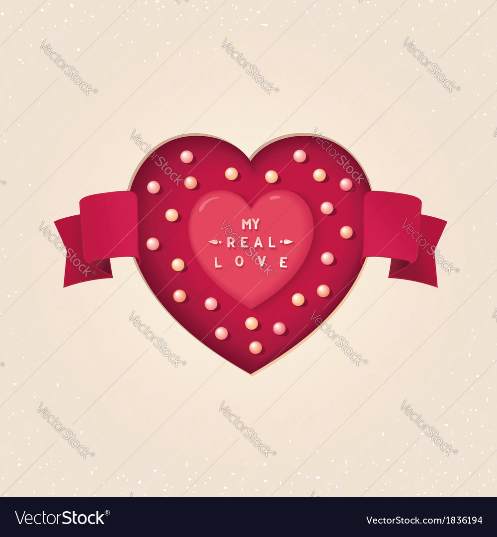 Heart in cut heart with tape and pearl vector   Price: 1 Credit (USD $1)