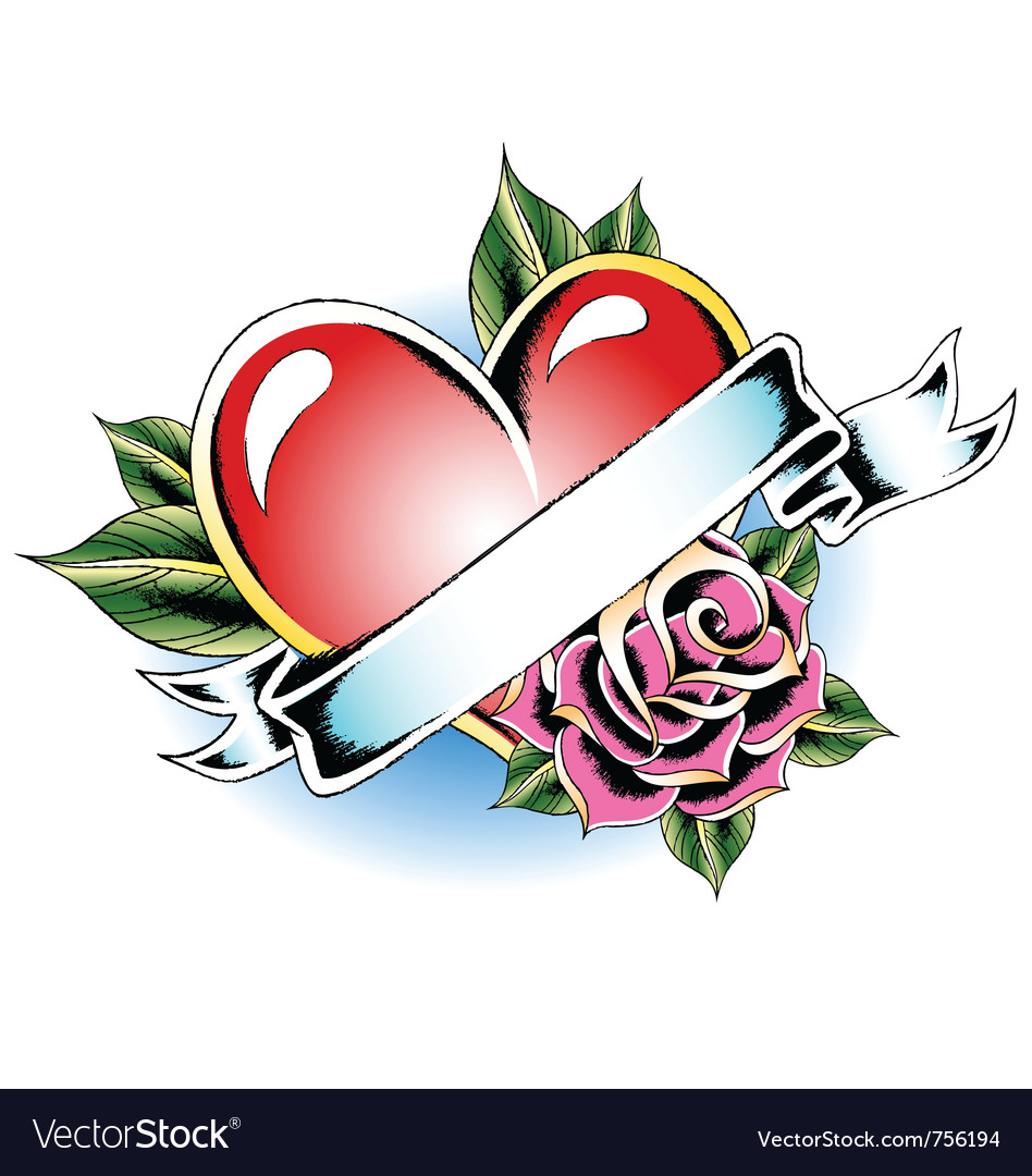 Heart rose ribbon emblem vector | Price: 1 Credit (USD $1)