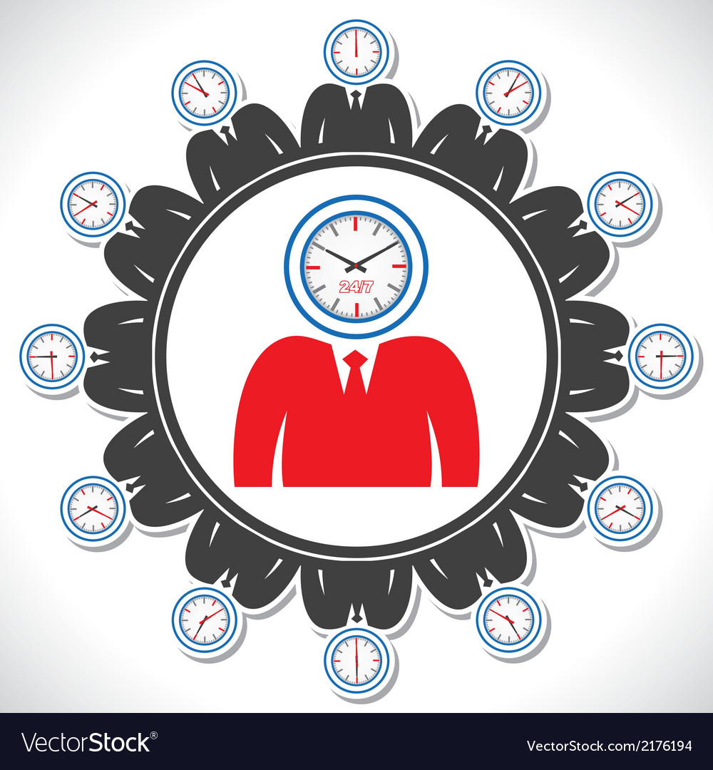 Mans face showing different views of a clock vector | Price: 1 Credit (USD $1)