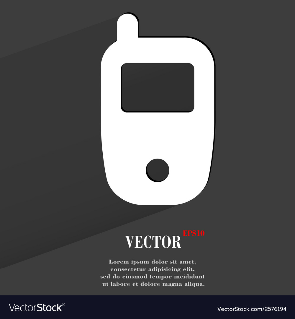 Mobile phone flat modern web button with long vector | Price: 1 Credit (USD $1)