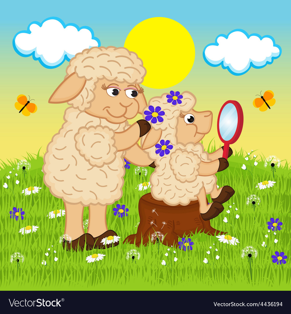 Mother sheep adorns head daughter vector | Price: 3 Credit (USD $3)