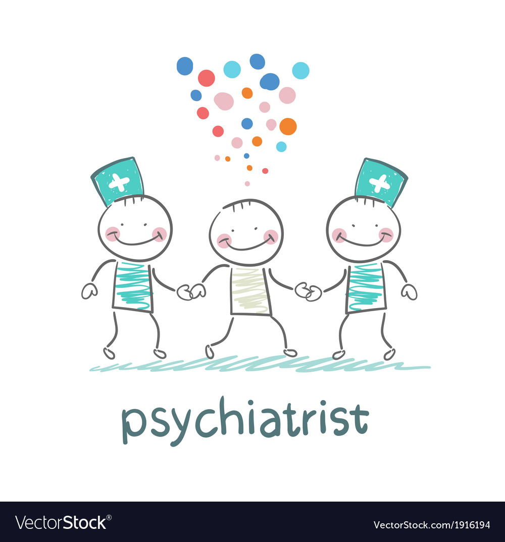 Psychiatrists go to the patient which is crazy vector | Price: 1 Credit (USD $1)