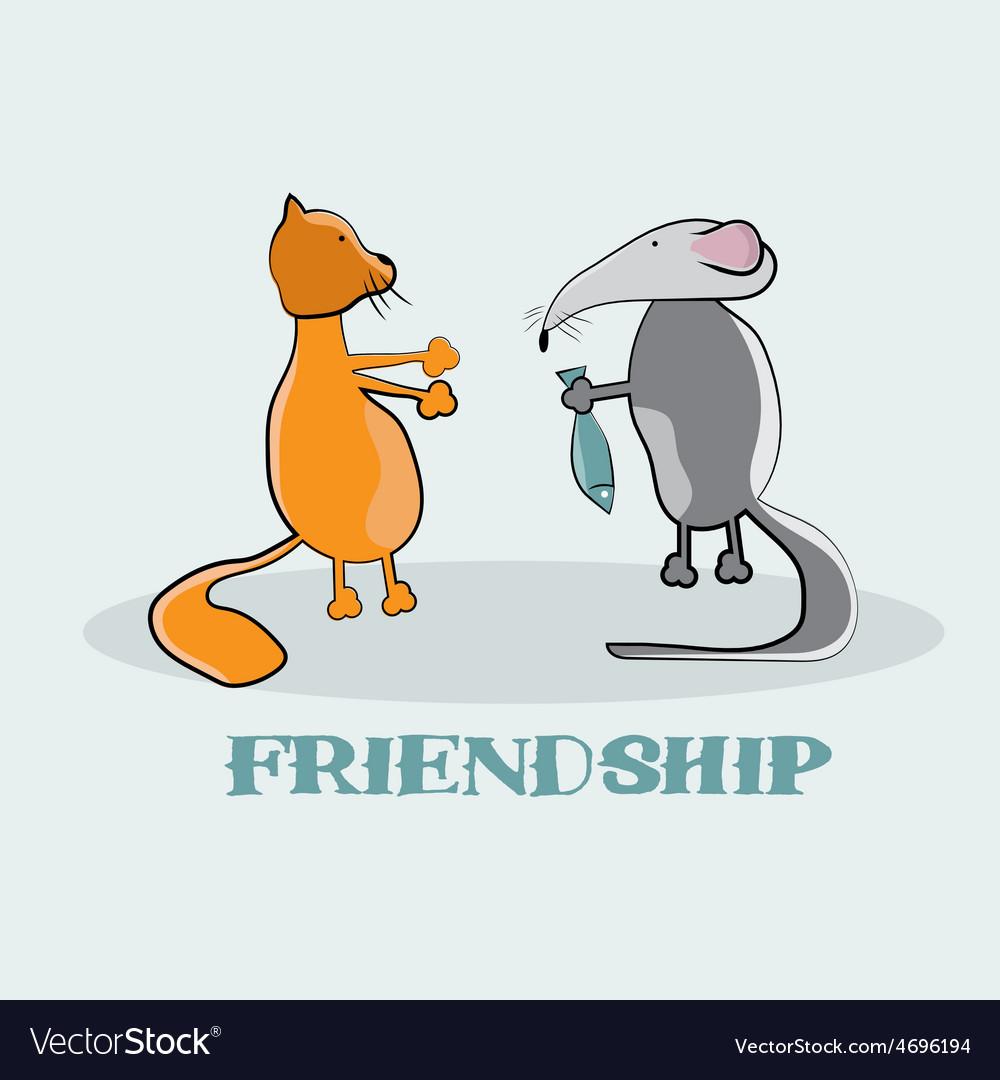 Rat giving to a cat fish cartoon vector | Price: 1 Credit (USD $1)