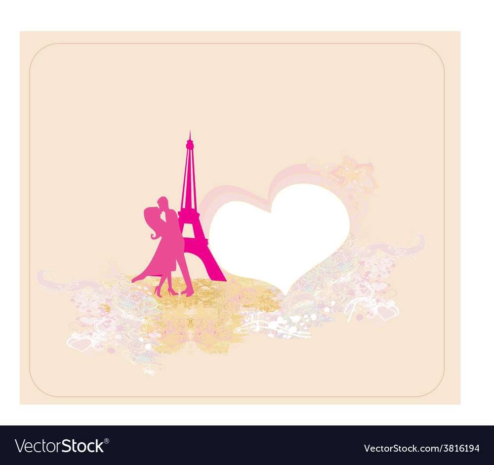 Romantic couple in paris kissing near the eiffel vector | Price: 1 Credit (USD $1)