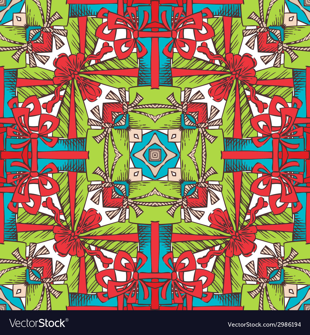 Square seamless christmas pattern vector | Price: 1 Credit (USD $1)