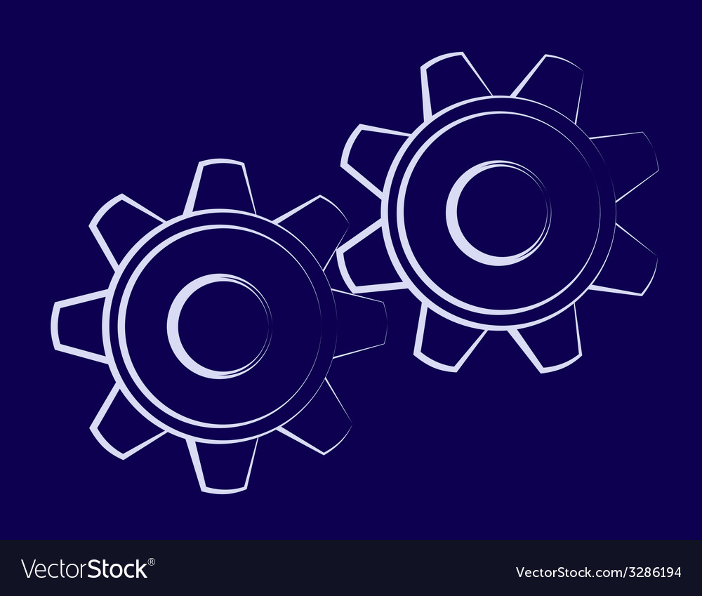 Symbol of the cogwheels vector | Price: 1 Credit (USD $1)