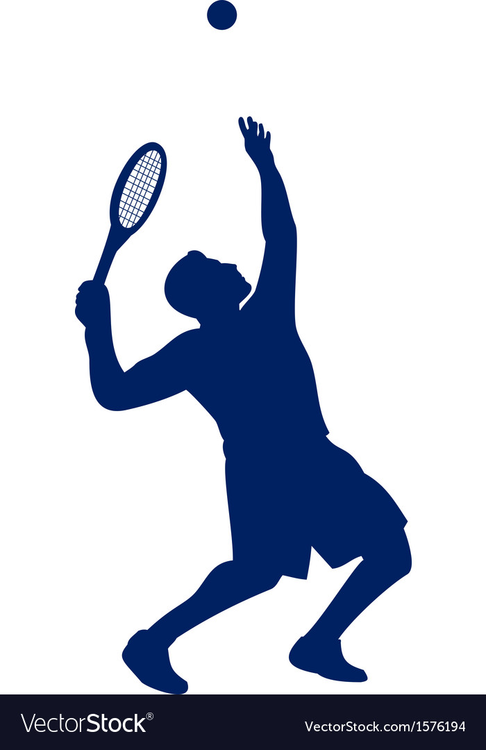Tennis player serving silhouette vector | Price: 1 Credit (USD $1)